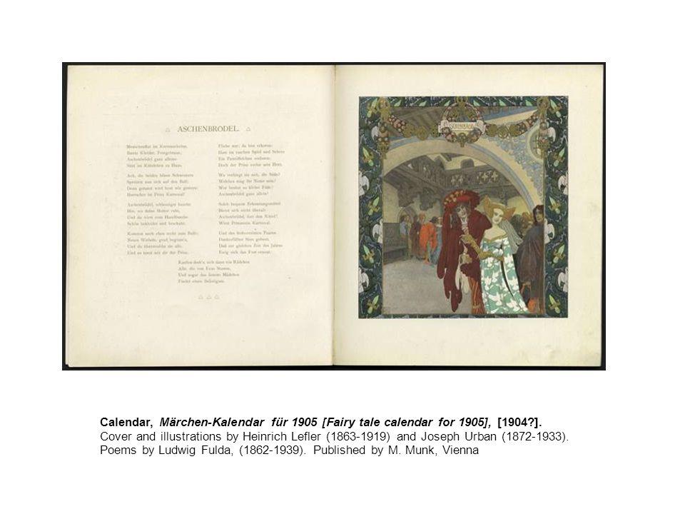 Calendar, Märchen-Kalendar für 1905 [Fairy tale calendar for 1905], [1904 ].